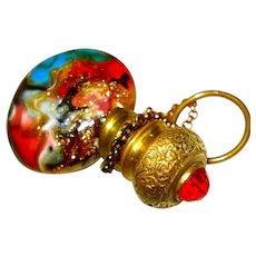 Victorian Venetian Italian Jeweled Chatelaine Miniature Perfume Bottle