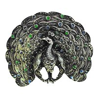 LG Deco Sterling Marcasite Jeweled Figural Peacock Pin