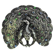 LG Geschutzt  Deco Sterling Marcasite Jeweled Figural Peacock Pin