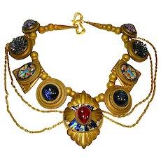 Huge Patrice Jeweled Art Glass Swag Necklace Retro