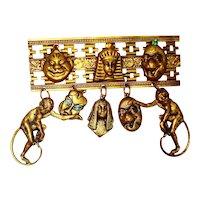 Kitschy Early 1900s Egyptian Revival Biliken Brooch