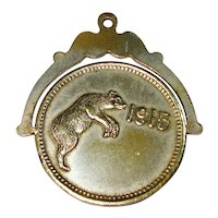 RARE 1915 Rearing Bear Spinner Charm Fob