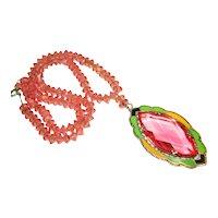 Pretty in Pink Art Deco Czech Enamel Glass Necklace