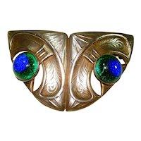 Ex Lg Jugendstil Peacock Eye Foiled Czech Art Glass Brooch