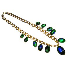 30s Foiled Peacock Eye Czech Art Glass Bookchain Necklace