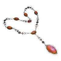 Art Nouveau Sterling Dragon's Breath Negligee Necklace