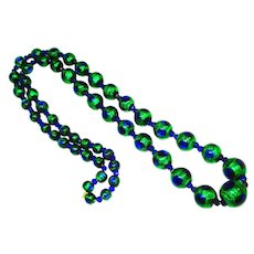 "Ex Lg 32"" Foiled Peacock Eye Glass Bead Necklace"