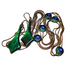 RARE Art Nouveau Peacock Eye Glass Princess Belt French