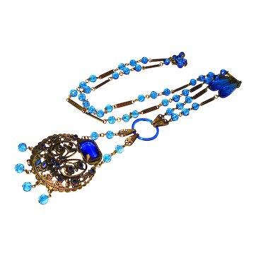 LG Victorian Snake Czech Neiger Sautoir Necklace