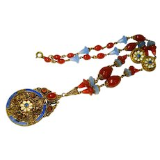 LG Czech Jeweled Enamel Neiger Periwinkle Carnelian Necklace