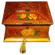 LG Folk Art Handpainted Birds & Flowers Inlay Jewelry Sewing Box