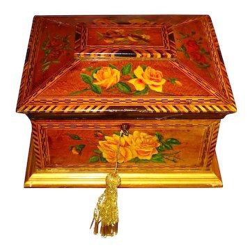 LG Folk Art Handpainted Birds & Flowers Inlay Jewelry Sewing Box