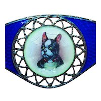 Fine Gilloche Enamel French Bulldog Dog for Pin or Pendant