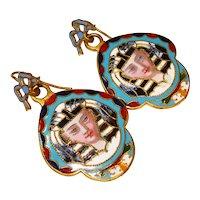 Rare French Enamel Egyptian Revival Pierced Dangle Earrings