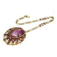 HUGE Rare Lavender Czech Satin Glass Enamel Necklace