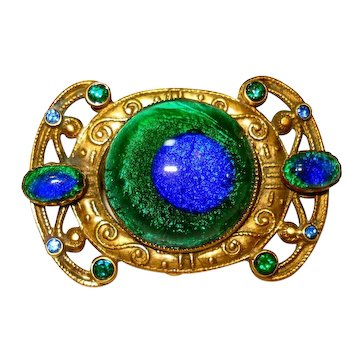 Lg Art Nouveau Peacock Eye Foiled Art Glass Pin