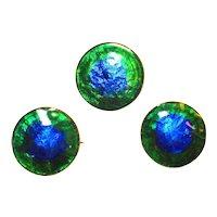 Rare Foiled Enamel Peacock Eye Scatter Pins