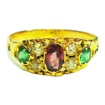 12kt Suffragette 1860 Diamond Ring Hallmarked