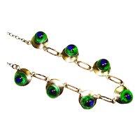 Retro Foiled Peacock Eye Art Glass Necklace