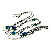 "58"" Victorian Foiled Peacock Eye Glass Muff Watch Chain"