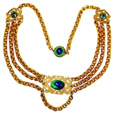 Foiled Peacock Eye Glass Swag Necklace Jeweled Clasp
