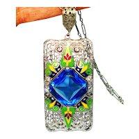 LG Art Deco Jeweled Enamel Rhodium Filigree Necklace