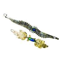 HUGE Art Nouveau Peacock Jeweled Kilt Pin +1