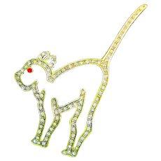 LG MMA Sterling Silver Sparkling Rhinestone Deco Cat Pin