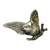 Victorian Sterling Jeweled Bird Pin