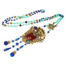 Rare Neiger Jeweled Czech Art Glass Necklace w Lion and Geisha