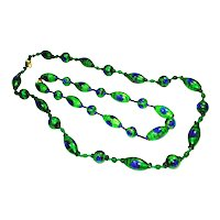 """Pair of Foiled Peacock Eye Art Glass Bead Necklaces 38 1/4"""""""