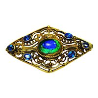 Czech Art Nouveau Foiled Peacock Eye Brooch