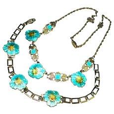 Signed Sterling Enamel Pansy Necklace Bracelet Set