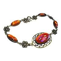 LG Fiery Jeweled Dragons Breath Sterling Silver Bracelet