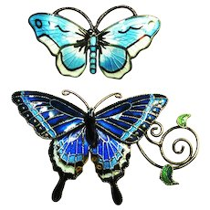 Pair Sterling Enamel Butterfly Pins Signed Norway