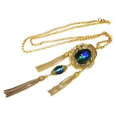 LG Art Nouveau Czech Foiled Peacock Eye Glass Tassel Pendant Necklace