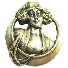 1902 Art Nouveau Harem Girl w Moon Sterling  Pin Signed Wm Link