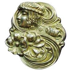 Lg Art Nouveau Lady Lilies Pin Signed