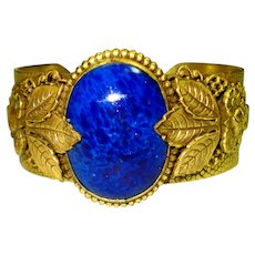 HUGE Czech Lapis Art Glass & Roses Gilt Bracelet