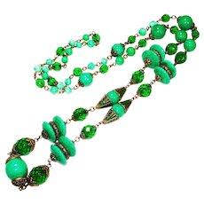 Ornate Czech Neiger Enamel Peking Glass LONG Necklace
