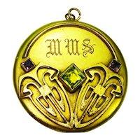 HUGE Jeweled George Steere Art Nouveau Photo Locket  SIGNED