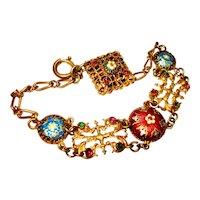 Jeweled Bresse Enamel Ornate Victorian Bracelet