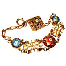 Jeweled Bresse Enamel Ornate Victorian Bracelet