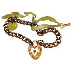Victorian Love Token Charm Bracelet w Heart Padlock & Key