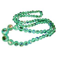 Shimmering Czech Iridescent Foiled Art Peacock Eye Glass Necklace