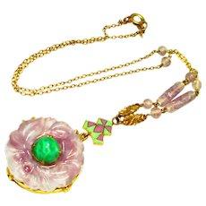 Oriental Czech Enamel Faux Amethyst Glass Jade Lavalier Necklace