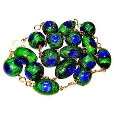 Nouveau Peacock Eye Foiled Art Glass Bead Necklace