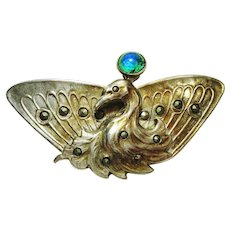 Art Nouveau Jeweled Foiled Peacock Eye Glass Peacock Pin