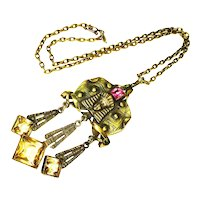 RARE LG Jeweled Egyptian Revival George Steere Necklace