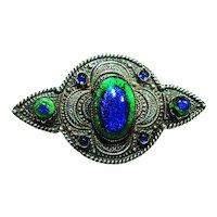 Jugendstil Czech Foiled Peacock Eye Brooch